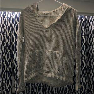 Knitted-like hoodie.